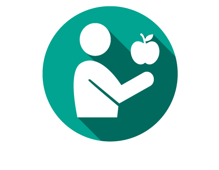 A person eating an apple (white iconography graphic on green background)