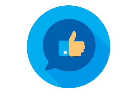 "A thumbs up icon within a quote bubble representing a ""like"" on Facebook"