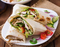 Crunchy creamy cucumber-chicken wrap